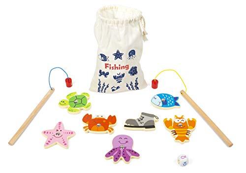 small foot 11366 vissen reisspel van hout, FSC100%-gecertificeerd speelgoed, meerkleurig