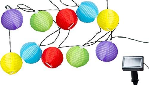 Bunte Party Lichterkette - Solar Lichterkette mit 10 Garten Lampions bunt - Außen Partybeleuchtung 10 LED Pavillon Dekoration Beleuchtung