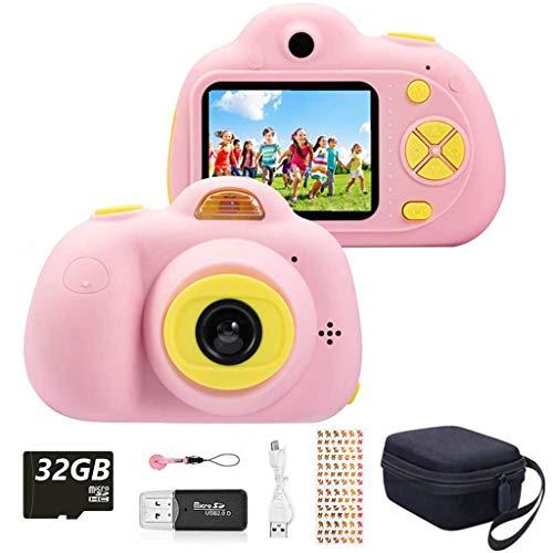 YunLone ToyZoom Macchina Fotografica per Bambini, Bambini Fotocamera Digitale Portatile Selfie Videocamera per Bambine 2 Pollici LCD /1080P FHD / 18MP/Scheda 32 GB/Custodia Inclusa(Rosa)