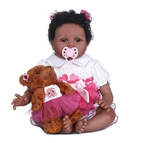55 cm Bebe Flexible Bebe Reborn Baby Girl Maddie Black Skin Bebé afroamericano Cabello manoplado con Botella y Chupete