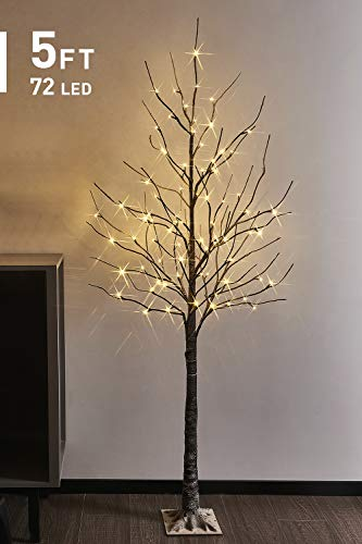 EAMBRITE Pre-Lit Snow Brown Tree 5FT 72LT Warm White Winter Christmas Tree Light Decorative for Xmas Wedding Home Fireplace Indoor and Outdoor Use