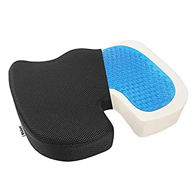 AROVA Office Chair Cushion, Upgraded Gel Seat Cushion for Office Chair & Desk Chair, More Comfortable Memory Foam Seat Cushion with Cooling Gel, U-Shaped Tailbone Pain Relief Cushion for Long Sitting