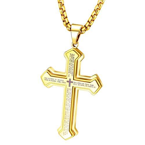 F Fityle Cruz Colgante Collar Moda Biblia Verso Punk Cadena Collar Eslabones Gargantilla 60cm - de Oro