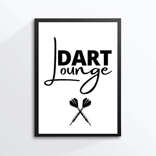Kunstdruck Din A4 ohne Rahmen Spruch - Dart Lounge - Darts Pfeile Pfeil Zielscheibe Poster Bild Druck