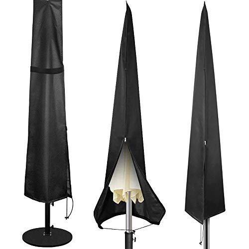 Patio Umbrella Cover, 420D Oxford Heavy Duty Waterproof Parasol Umbrella Covers with Zipper and Telescopic Rod for 7ft to 11 ft Outdoor Garden Table Umbrella Covers (Straight Cover)