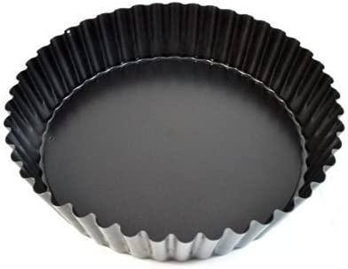 Paderno World Cuisine 9.5 InchDeep Fluted Tin Tart Mold with Removable Bottom