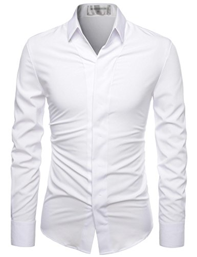 NEARKIN (NKNKS650 Super Stretchy Hide Button Point Wrinkle Free Dress Shirts White US M(Tag Size M)