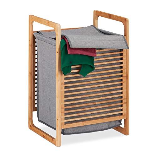 Relaxdays Cesto de bambú para la Ropa Sucia, Canasto Rectangular con Tapa, Accesorio de baño, 60x40x35 cm, Marrón/Gris, poliéster
