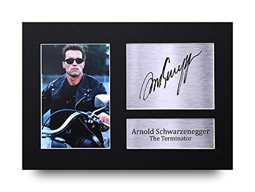 HWC Trading Arnold Schwarzenegger A4 Sin Marco Regalo De Visualización De Fotos De Impresión De Imagen Impresa Autógrafo Firmado por The Terminator Los Aficionados Al Cine