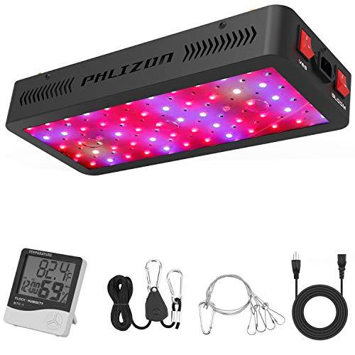 Phlizon Doppelschalter Serie 600W LED Pflanzenlampe Vollspektrum LED Grow Light Wachsen Lampe für Zimmerpflanzen mit Einstellbarem Seil Thermometer- 600W(60pcs 10W LED)