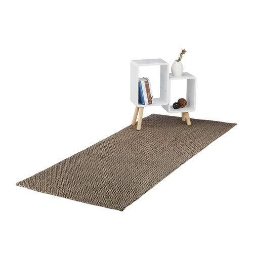 Relaxdays tapijtloper met ruitpatroon, keukenloper van jute, handgemaakt geweven tapijt, 80x200 cm, natuur/zwart