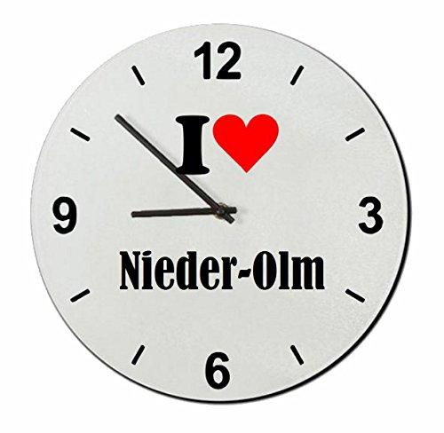Druckerlebnis24 Glasuhr I Love Nieder-OLM eine tolle Geschenkidee die von Herzen kommt| Wanduhr| Geschenktipp: Weihnachten Jahrestag Geburtstag Lieblingsmensch