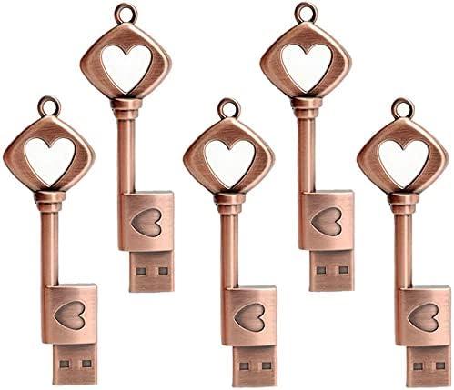 5 x 16GB USB 2.0 Flash Drive Love Knot Heart Key Shaped Memory Stick Retro Gift for Family,Kids,Friends,Students Thumb Drive, Jump Drive, Zip Drive (16GB, 5 pcs)