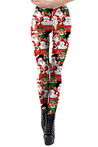 Pink Queen Womens Novelty Tights Santa Claus Ugly Print Workout Christmas Leggings