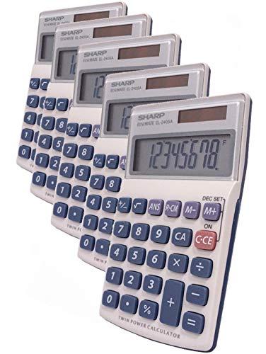 Sharp HO EL240SB 8 Digit Solar and Battery Powered Slant Display Calculator 5/Pack
