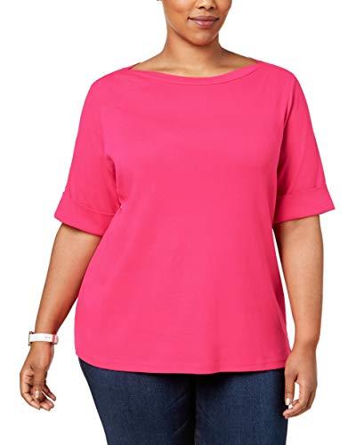 Karen Scott Womens Plus Cotton Boatneck T-Shirt Pink 0X