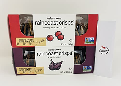 Raincoast Crisps Crackers Variety Bundle | Cranberry Crisps & Hazelnut | Fig & Olive With Kokobunch Kit by Lesley Stowe| 2 Pk - 5.3 oz
