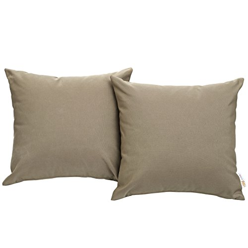 Modway Convene Outdoor Patio All-Weather Pillow in Mocha - Set of 2