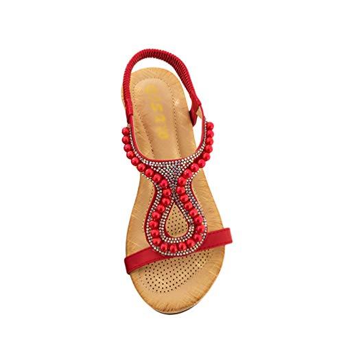 Lvguang Sandalias de Cuña para Mujeres Verano Estilo Bohemia Rhinestone Correa Elástica Zapatos Chanclas Romanas de Damas (Rojo, 37 EU)