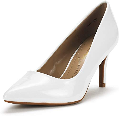 DREAM PAIRS Women's KUCCI White Pat Classic Fashion Pointed Toe High Heel Dress Pumps Shoes Size 8.5 M US