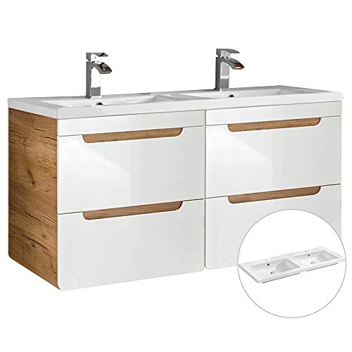 Lomadox Badmöbel Waschtisch Set in weiß Hochglanz & Wotaneiche, Keramikwaschbecken, 120cm Waschtischunterschrank 4 Softclose-Schubkästen