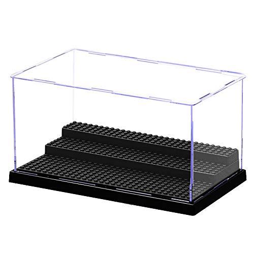 MIKA ミニフィギアディスプレイケース(25.5×15.5×13.5cm)組立式透明有機ガラス防塵ヒューマノイドビルディングブロック おもちゃ(Minifigures)アクリルショーケース/箱 (1-黒)