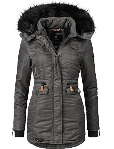 Navahoo Damen Winter-Jacke Winter-Mantel Steppmantel Schätzchen Anthrazit Gr. L