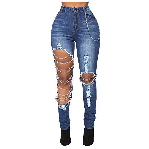 Vectry Damen Hose Sexy Skinny Jeanshose Zerrissene Kette Großes Löchern Jeans High Waist Denim Pants Ausgeschnitten Aushöhlen Sommer Leggings Stretch Bleistifthose Dunkelblau S