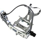 Wellgo Track Fixie Bike Pedals Toe Clips and Leather Straps Silver