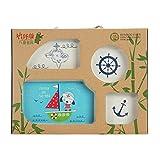 YiXing Kinder-Teller-Set – 5-teiliges Bambusfaser-Essgeschirr-Set mit innovativer Cartoon-Reisschale, Babygeschirr, Teller – Geschenk Geschirr (Farbe: B)