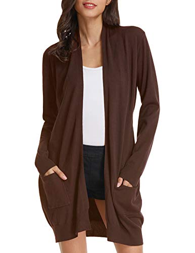 Women's S-3XL Solid Button Front Knitwears Long Sleeve Casual Cardigans Coat(M,Coffee)