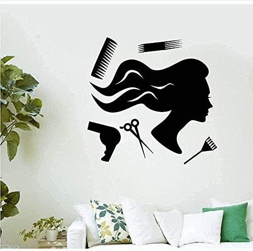 Pegatinas de pared Salón de belleza Pegatinas de pared Herramientas de salón de belleza Peluquería Estilista Mural Decoración de salón de belleza 42x41cm