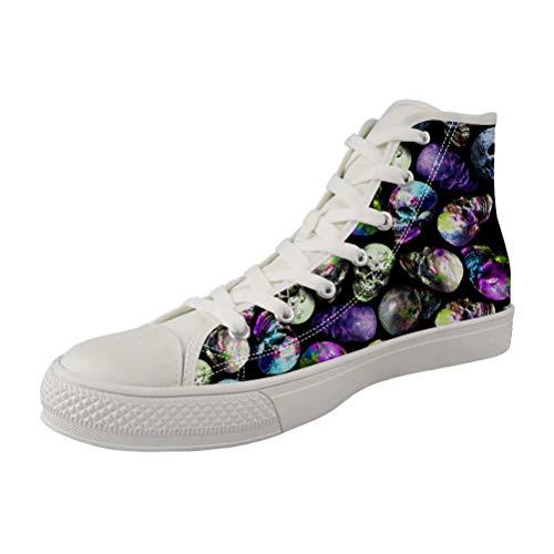 POLERO Canvas Sneaker High Top Turnschuh Textil Schuhe mit Totenkopf Muster für Unisex Erwachsene Weiße Sohle 36-41 EU