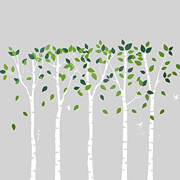 Houseables Tree Wall Decal Removable Vinyl Sticker 6 H X 9 W White Nursery Wallpaper Forest Mural Self Adhesive Jungle Stencils For Living Room Kids Bedroom School Classroom D Cor