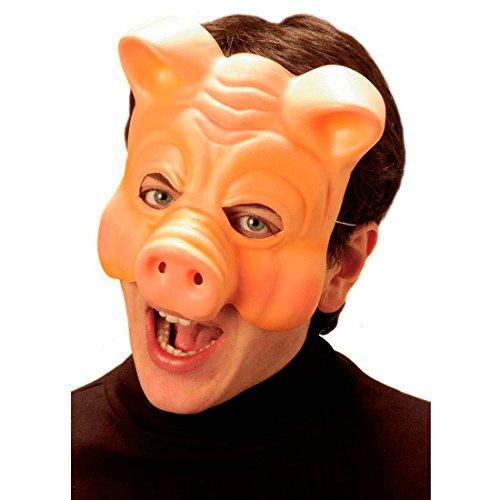 NET TOYS Schwein Halbmaske Schweinemaske hautfarbend Schwein Maske Schweinsmaske Tiermaske Kostüm Zubehör JGA