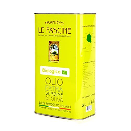 Le Fascine Olio Extravergine d'Oliva Provenzale Biologico 100% Italiano Prodotto da mono cultivar Provenzale ( Peranzane ) (Latta da 3 Litri)
