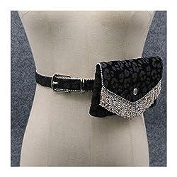 Waist Bags Leopard Belt With Rhinestone Tassel-A