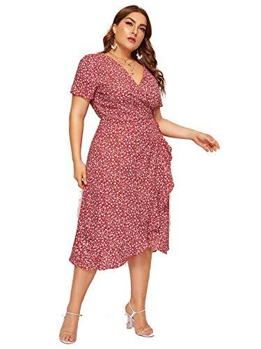 Milumia Women Plus Size Vintage Floral Boho Wrap V Neck Maxi Dress Retro Red 2X