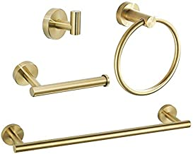 WEIKO Gold Bathroom Hardware, Bathroom Accessories Set Includes 24 Inch Towel Bar Toilet Paper Holder Towel Ring Robe Hook 4 Pieces Wall Mounted