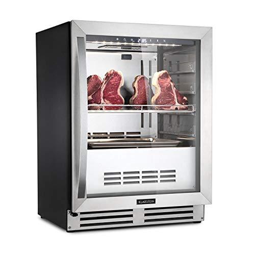 Klarstein Steakhouse Pro - Nevera de maduración de carne, Capacidad de 98 litros, Temperaturas entre 1-25 °C, Humedad ajustable entre 60-85%, Encastrable, Iluminación interior LED, Plateado