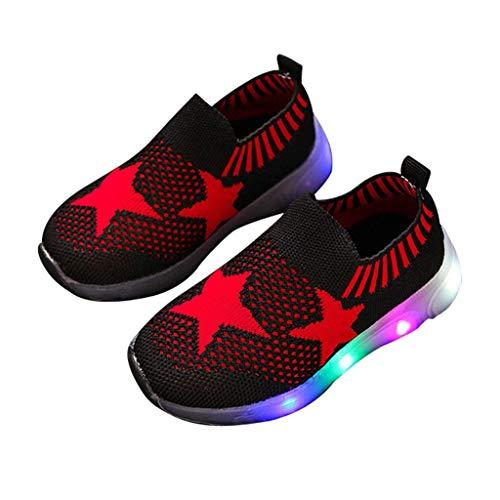 ZOREFINE ♥ Patrón de Estrella Transpirable LED Flash Running Shoes Zapatos Ligeros Coloridos Calcetines adecuados para niños Zapatos para niños y niñas (22.5-29EU)