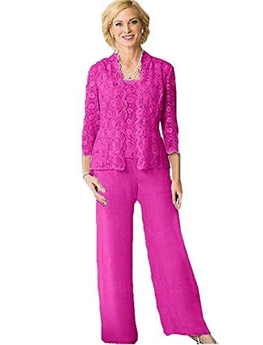 HYC Spitzen-Chiffon-Anzug für die Brautmutter mit langen Ärmeln, Übergröße, für Abschlussball, Party, Hose, Anzug Gr. 46, Fuchsa