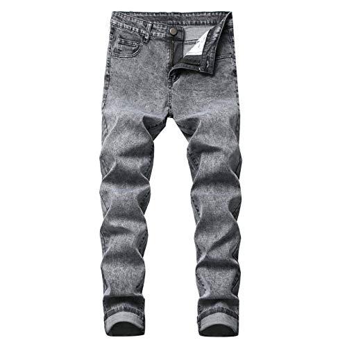 Huntrly Pantalones Vaqueros para Hombre Pantalones Vaqueros Ajustados elsticos Casuales Simples Pantalones de Mezclilla de Moda Versin Regular Europea y Americana 30