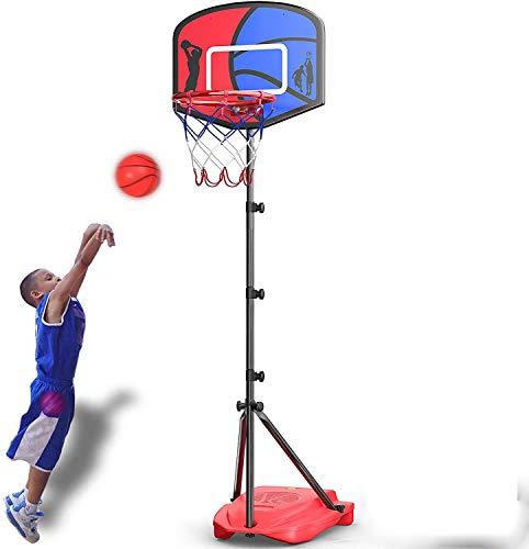 Soporte de baloncesto para niños, soporte de baloncesto de las ruedas, la base se puede llenar con el marco del baloncesto del soporte de la correa de agua de 3 a 12 años,Blue