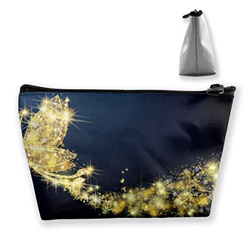Golden Sparkle Trousse à maquillage multifonction Motif papillons et insectes volants Grande capacité