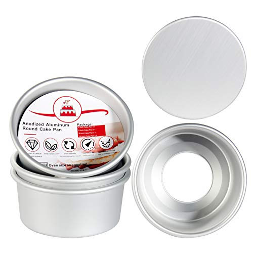4 Inch Round Cake Pan Set of 4, OAMCEG Mini Aluminum Cheesecake Pans with Removable Bottom, Professional Nonstick & Leakproof Round Baking Pans Layer Cake Pans Tin Set