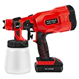 Cordless Paint Sprayer,Portable Electric HVLP Powerful Spray Gun,800ML Removable Container,3 Spray Patterns,Adjustable Valve Knob,for Painting Ceiling,Fence,Cabinets,Walls