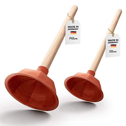 Pömpel Set für Waschbecken, Dusche & Küche | 140 + 110 mm Abflussreiniger (Made in Germany) | Universal-Saugglocke für jeden Abfluss | Ausgussreiniger Pümpel aus Gummi | Abflussreiniger Pumpe