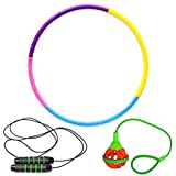 Fun outdoor and indoor exercise equipment cardio game 3 PCS Kids Fitness Toy Set includes 1 Hula Hoop , 1 Jumping Rope for fitness , 1 Jumping toys swing balls for Adults, Kids and Girls and Boys
