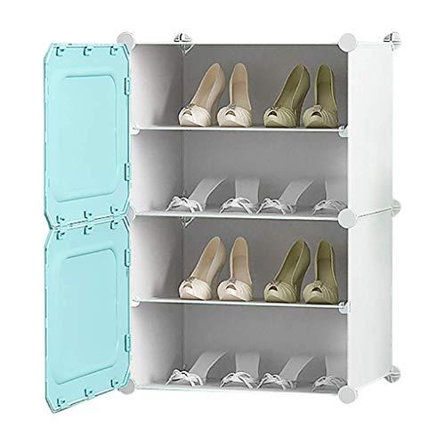 MJY Bastidores de Zapatos Organizar Montaje Multifunción Caja de Alenamiento de Plástico Estante de Zapatos para Niños Mujer Gabinete de Zapatos Recoger Soldries,Azul,4 Nivel
